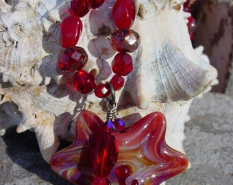 Designer Red Focal Bead Necklace, Siam Swarovski Crystal Necklace, Red Fire Polished Bead Necklace, Czech Glass Bead Red Necklace