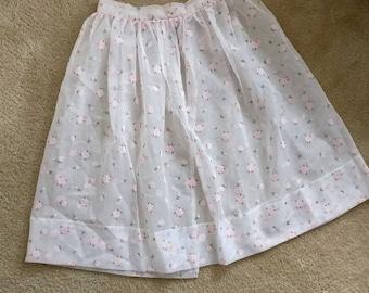 Vintage 1950s Sheer Floral Overskirt/50s Skirt/Large