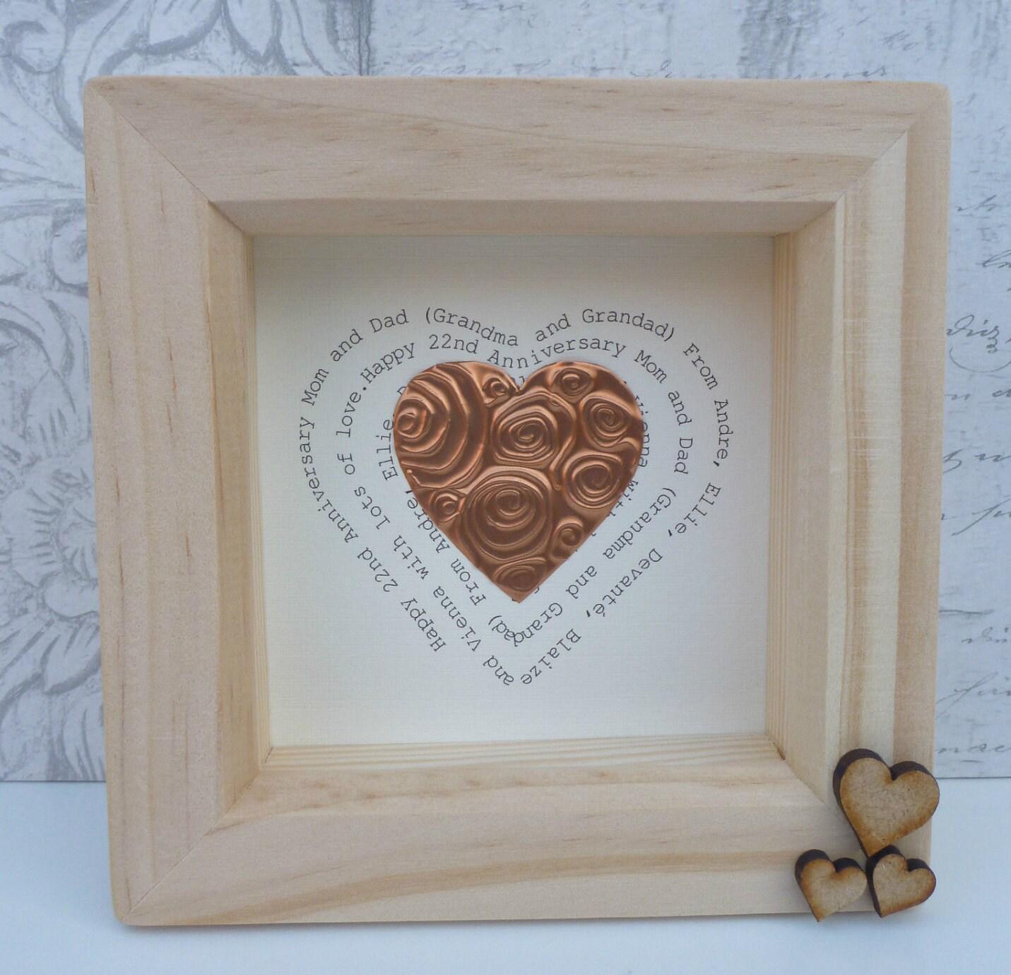 7th wedding anniversary gift copper anniversary gift 7th copper anniversary 22nd wedding gift 7th anniversary 22nd anniversary framed