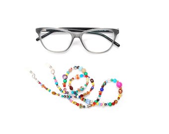 Thin RandomJane short glasses chain colorful beaded hippie boho random style summer accessory for kids, eye and sun glasses made in Vienna