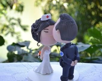 Wedding cake topper. Police Officer groom and Nurse bride. Handmade. Fully customizable. Unique keepsake.