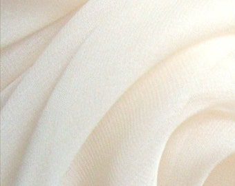 "Pure Silk Chiffon Gauze in NATURAL WHITE smooth finish fabric available by the metre 138 cm 54"" wide medium weight 6 mm"