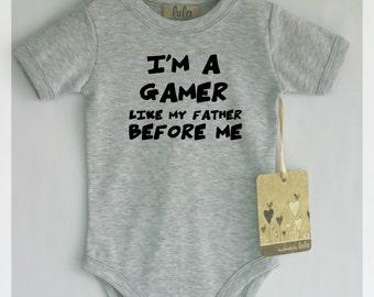 Baby boy gamer. I'm a gamer baby. Funny baby boy clothes. Games baby clothes. Baby boy cute clothes.