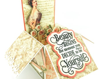 Vintage Beauty pop-up greeting card