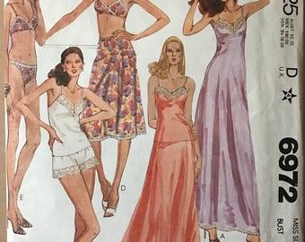 McCalls 6972 - 1970s Bikini, Full and Half Slip, Bra, and Camisole - Size 12 Bust 34