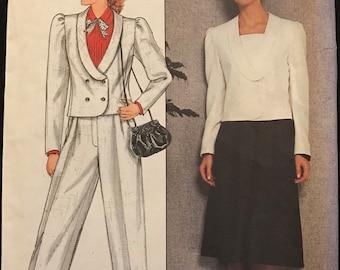 Butterick 4890 - 1980s Richard Warren Shawl Collar Jacket, Pants, and Skirt - Size 12 Bust 34