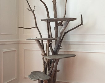Large Driftwood Cat Climbing Tree. Handmade from Reclaimed Driftwood.