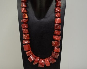 Necklace Vintage Chinese Red Medium Bamboo Coral Stone Beads Handmade Jewelry Silver Red Coral Bamboo Beads Necklace Statement Unique C