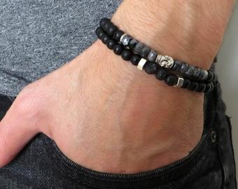 Men's Bracelet Set - Men's Beaded Bracelet - Men's Skull Bracelet - Men's Jewelry - Men's Gift - Husband Gift - Boyfriend Gift - Male