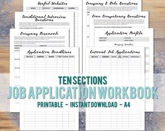 Printable A4 Job Application Workbook - Career Planner - Graduate Job Binder - Interview Prep - Job Application Tracker - Instant Download