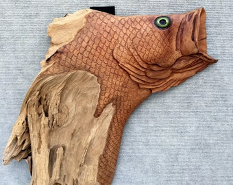 Large Mouth Bass Driftwood Carving 2-21-3-17/Gifts for him