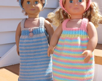 "Doll Clothes -18"" Doll Clothes - Doll Dress - Hand Knit Doll Clothes - Knit Doll Dress - Knitted Doll Clothes - Knitted Doll Dress"