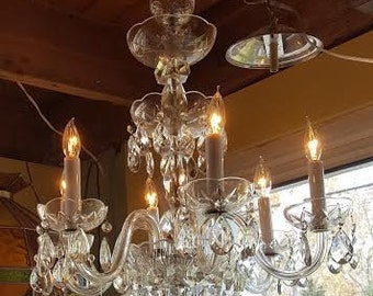 Vintage  Crystal  Chandelier   6 arm