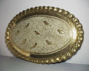 """24"""" Vintage Indian Brass Tray with Birds/Indian Tray/Bohemian Brass Wall Hanging/Boho Chic/Bohemian Decor/Brass Decor/Brass Wall Decor"""