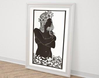 Nude Art / Fine Art Nude / Female Nude Art / Nude Woman Art / Female Nudes / Figurative Art / Feminine Art / Paper Cut Art / Cut Paper Art