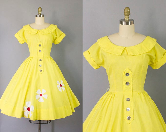 1950s yellow floral dress/ 50s Jonathan Logan novelty day dress/ medium