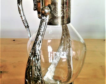 Very Ornate Vintage Silverplate Tilting Coffee Carafe and Warmer