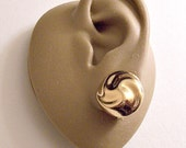 Monet Round Swirl Button Clip On Earrings Gold Tone Vintage Domed Small Buttons Comfort Paddles Lined Backs