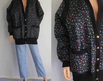 Black floral batwing jacket coat, quilted velour, oversize baggy, 80s french vintage, bomber jacket, large