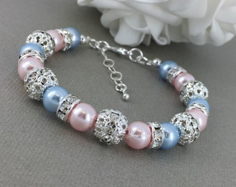 Swarovski Pearl Bracelet, Light Blue and Pink Pearl Bracelet, Bridesmaids Bracelet, Bridesmaids Gift on a budget, Maid of Honor Gift