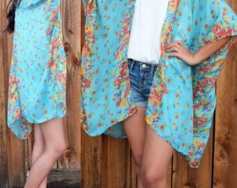 Blue Boho Tunic Swimsuit Cover Floral Print Sheer Gauze Cotton Fabric Caftan Duster Kimono Top Cardigan Onesize SML Plus Size