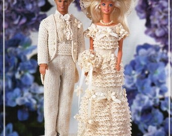 Barbie Ken Bride & Groom Crochet Pattern PDF Barbie wedding dress Ken wedding suit Fashion Doll Teenage Doll thread crochet cotton Download