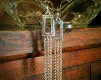 Titanium Earrings - Sterling Silver Earrings - Silver Chain Earrings - Chain Fringe Earrings - Hypoallergenic Earrings FREE US SHIPPING