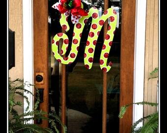 Christmas Initial Door Hanger, Initial Door Wreath,  Door Hanger Monogram, Door Hanger Wedding, Monogram Door Hanger, Monogram Door Decor