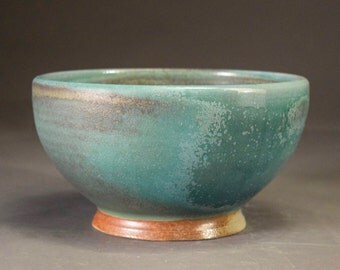 Turquoise Wood-Fired Serving Bowl