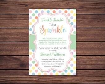Baby Girl Sprinkle Invitation, Polka Dots Pastel Baby Sprinkle Invitation, Pastel Girl Sprinkle Invitation, printable Digital JPEG