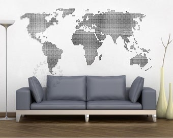 World map wall decal map wall sticker travel map wall decals giant world map wall decal map wall stencils abstract world map mural dotted world map wall sciox Image collections