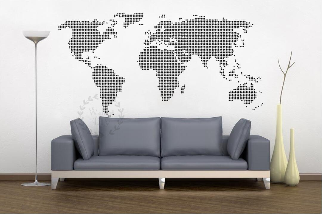 giant world map wall decal map wall stencils abstract world. Black Bedroom Furniture Sets. Home Design Ideas