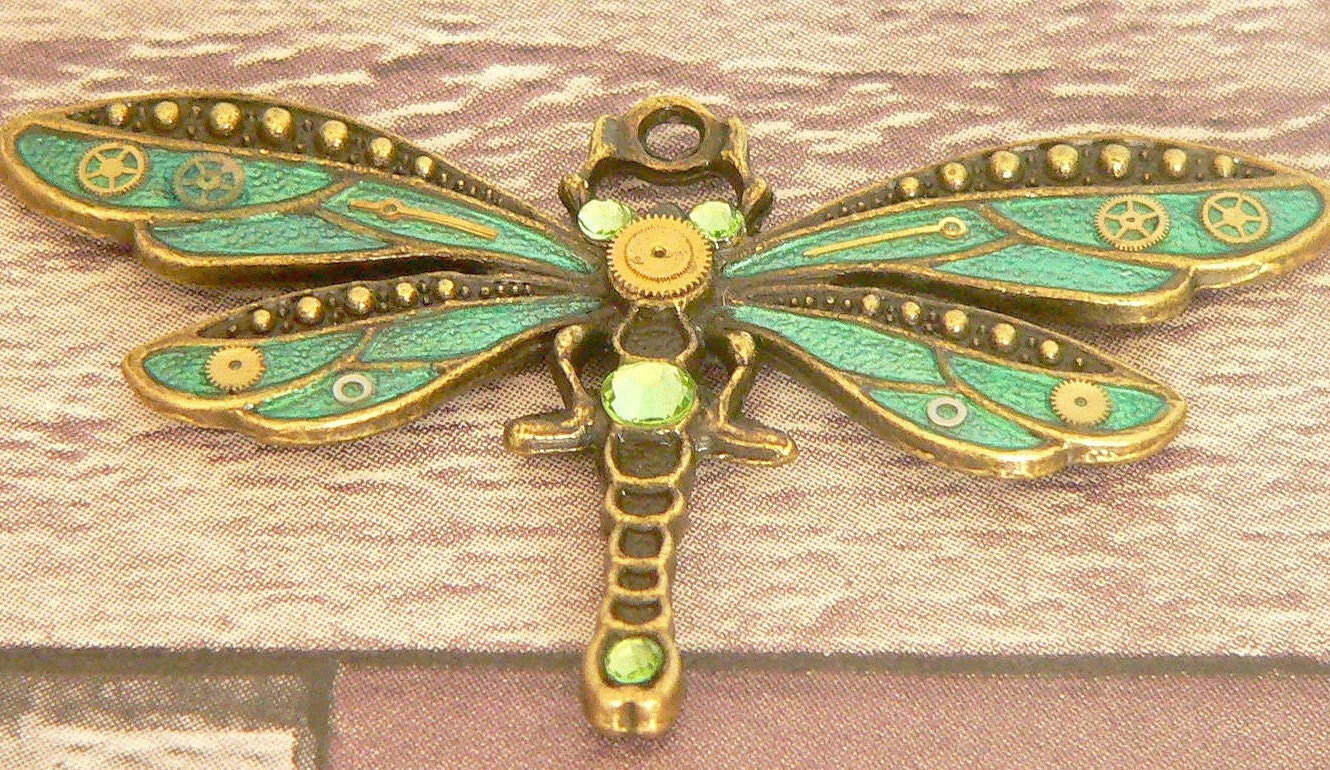 Green Steampunk Dragonfly Necklace Steampunk Necklace