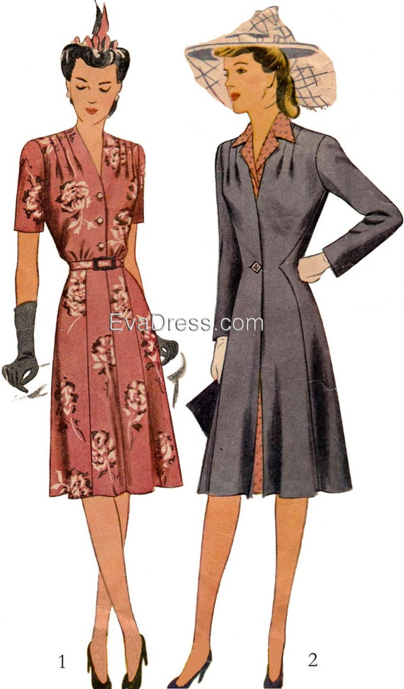1940s Fabrics and Colors in Fashion 1943 Dress & Redingote E-PATTERN set A by EvaDress1943 Dress & Redingote E-PATTERN set A by EvaDress $20.00 AT vintagedancer.com