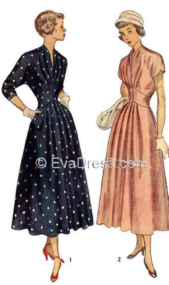 1940s Sewing Patterns – Dresses, Overalls, Lingerie etc 1949 Dress Pattern by EvaDress1949 Dress Pattern by EvaDress $15.00 AT vintagedancer.com