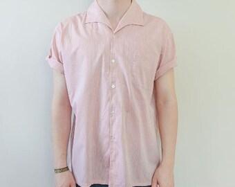 M Open Collar Pink Brushed Button Up Short Sleeve Shirt