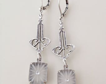 Vintage camphor glass earrings, long earrings, something old, bridal jewelry, bridal earrings, vintage bride, bridesmaid gift, white, silver