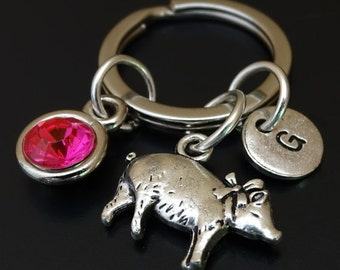 Pig Keychain, Pig Key Chain, Pig Charm, Pig Pendant, Pig Jewelry, Pig Gifts, Farmer Gifts, Farmers Wife, Gifts for Farmer, Farming Gift