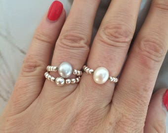 Freshwater Pearl Sterling Silver stretch ring beaded stacking ring white pearl ring large Baroque Pearl ring jewelry Baroque pearl jewellery