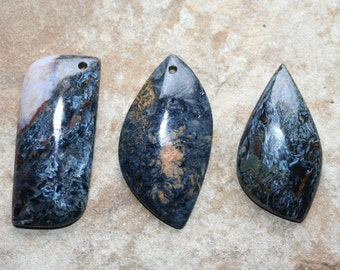 Pietersite Pendant (L246-248) Blue Pietersite, Gold Pietersite, Blue Tempest Stone, Gold Tempest Stone, Drilled Pietersite Focal Bead
