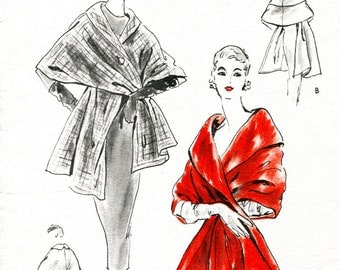1950s 50s evening stole cape shawl wide collar Vintage Sewing Pattern one size  repro