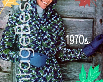 Instant Download Vintage 1970s Hooded Coat Sweater Crochet Pattern Coat Jacket PdF Pattern