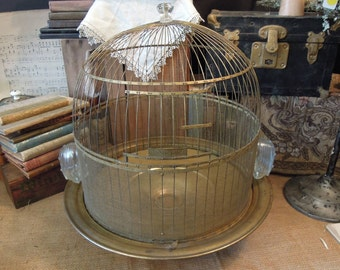 Antique Hendryx Brass Bird Cage /  Brass Bird Cage / Bee Hive Bird Cage / Re purposed Table Top Bird Cage