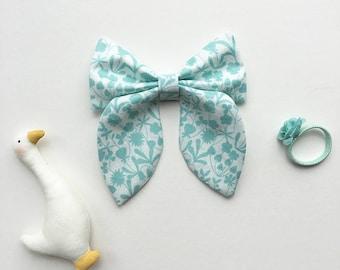 Oversized Classy Bow Hair Clip - Aqua Floral