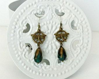 Steampunk earrings, Gear earrings, Bronze Steampunk earrings, Dragonfly earrings, Steampunk gift, Gift for her