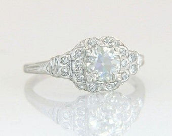 Antique Estate EGL Certified .88ct Genuine Diamond 18k Gold Engagement Ring 2.5g