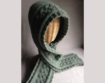 Alpaca Hooded Scarf - Hand-knit - with Celtic Cables - Seafoam Green