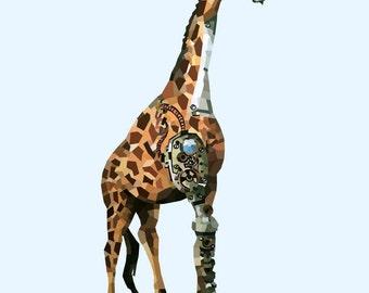 Clockwork Giraffe Print
