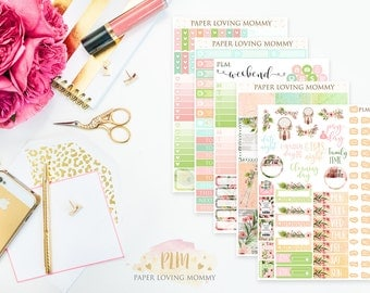 Blossoming Boho Weekly Kit | Planner Stickers | Floral Stickers | Planner Stickers designed for use with the Erin Condren Life Planner