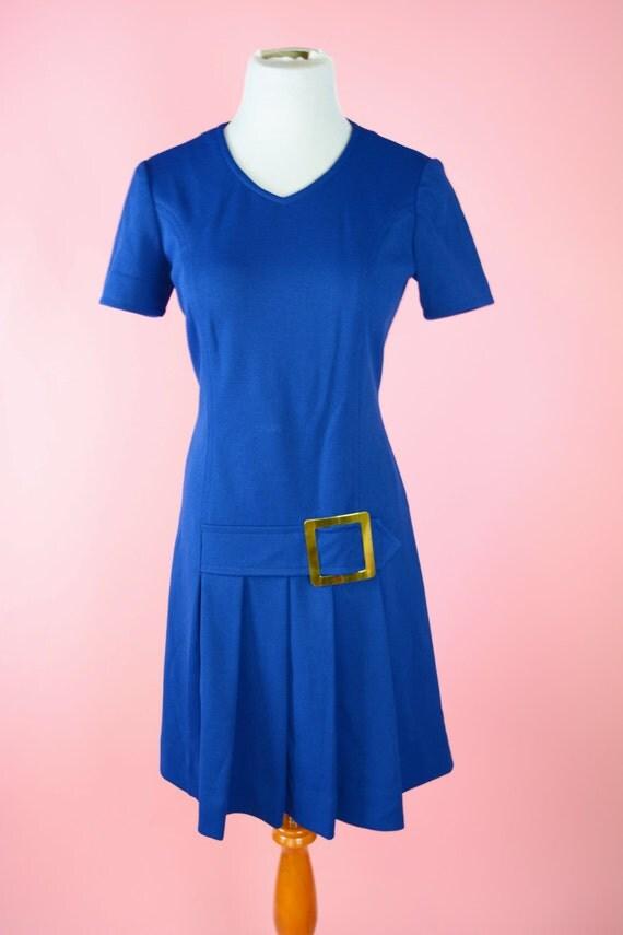 Mod, Retro 60s, Blue, Pleated Dress // Vintage, 1960s, Drop Waist, Shift, Gold Buckle, Women Size Medium